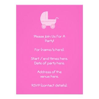 Carrinho de criança de bebê. Rosa cor-de-rosa e br Convite Personalizados
