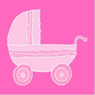 Carrinho de criança de bebê. Rosa cor-de-rosa e br Foto Escultura