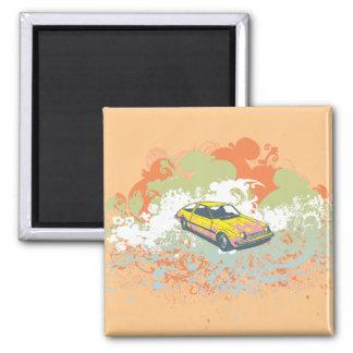 Carro abstrato ímã quadrado
