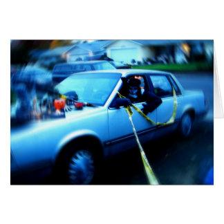 Carro assombrado cartão comemorativo