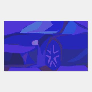 Carro azul adesivo retangular