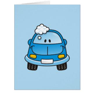 Carro azul com bolhas cartao