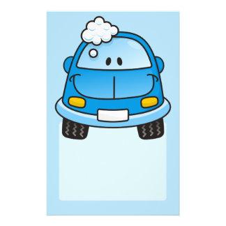Carro azul com bolhas panfleto personalizados