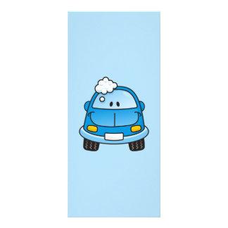Carro azul com bolhas panfleto personalizado