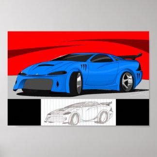 Carro azul poster