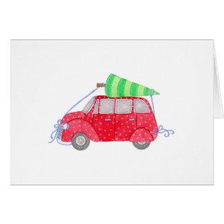 Carro com árvore cartão comemorativo