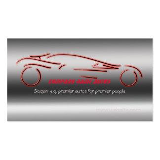 Carro de Autotrade - Sportscar vermelho no aço-efe Modelos Cartões De Visita