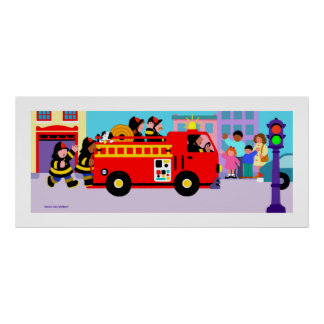 Carro de bombeiros ocupado poster