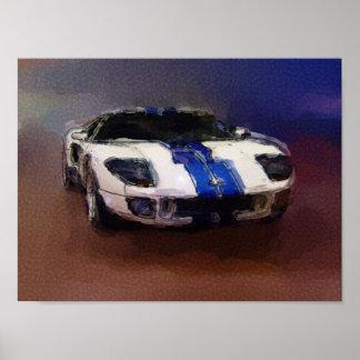 Carro de esportes azul & branco pôsteres