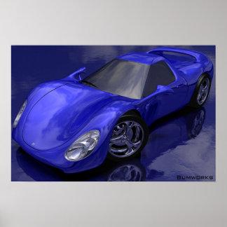 Carro de esportes azul pôster