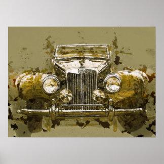 Carro de esportes de MG do vintage Pôster