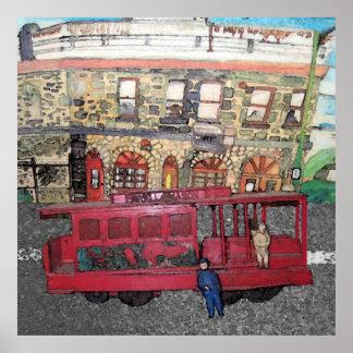 Carro de trole de San Francisco e o hotel ocidenta Poster