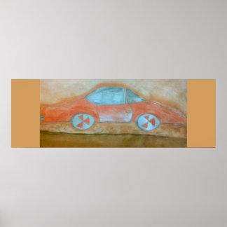 carro do vermelho do poster