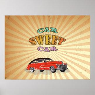 Carro doce do carro retro do músculo com design posteres