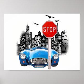 Carro e cartaz azuis da arquitectura da cidade pôster