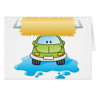 Carro engraçado em cartões de um lavagem de carros