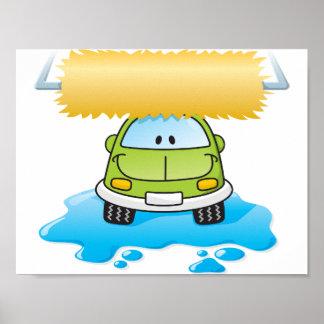 Carro engraçado em um poster do lavagem de carros