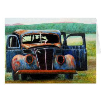 Carro oxidado cartão comemorativo
