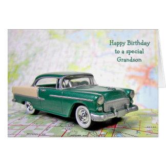 Carro retro para o aniversário do neto cartoes