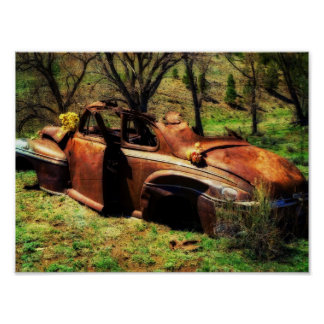 Carro velho oxidado no campo posters