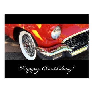 Carro vermelho - aniversário cartao postal