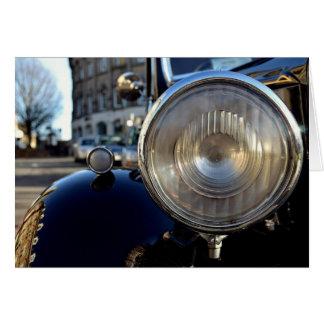 Carro vintage azul cartão