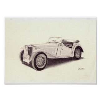 Carro vintage: MG TC Poster