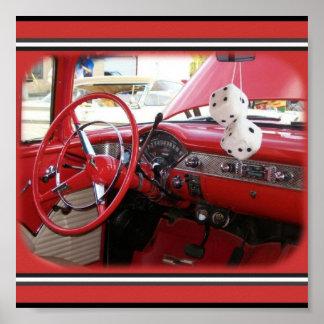 Carro vintage vermelho poster