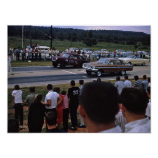 Carros de corridas do vintage poster