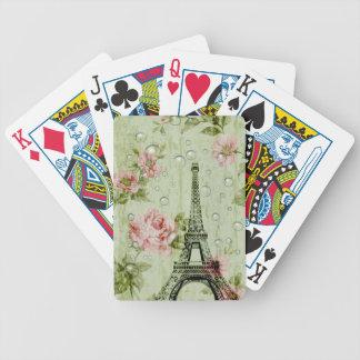 Carta De Baralho torre Eiffel francesa floral do país do chique