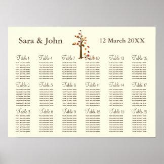 Carta rústica do assento do casamento da árvore da pôster