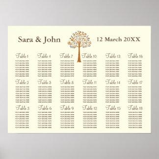 Carta rústica do assento do casamento da árvore da poster