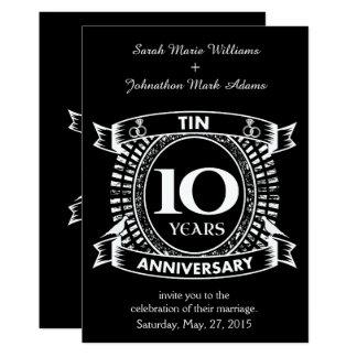 Cartão 10o lata do aniversário de casamento