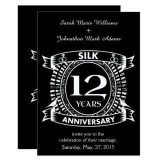 Cartão 12a seda do aniversário de casamento