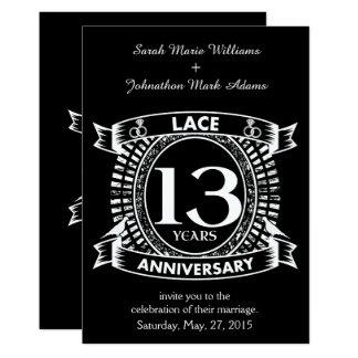 Cartão 13o laço do aniversário de casamento