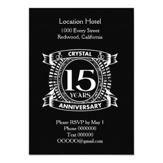 Cartão 15o aniversário de casamento preto e branco