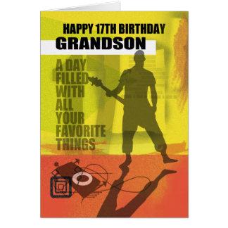Cartão 17o Design moderno do neto do aniversário