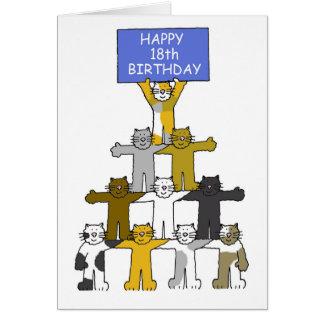 Cartão 18o aniversário comemorado por gatos