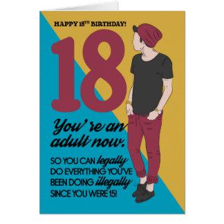 Cartão 18o Cartão, divertimento e na moda de aniversário,