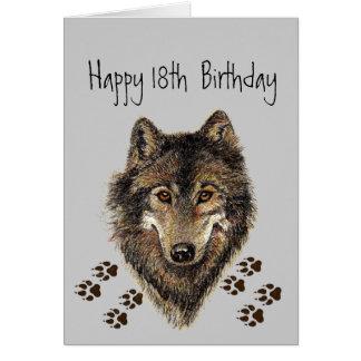 Cartão 18os, dezoito, lobo do aniversário, lobos, animal