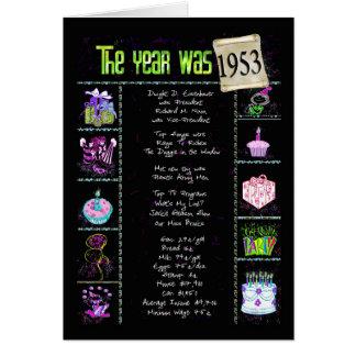 Cartão 1953 trivialidades do divertimento do ano do