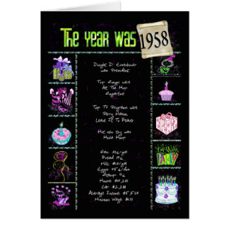 Cartão 1958 fatos de divertimento do aniversário
