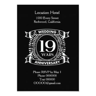 Cartão 19o aniversário de casamento preto e branco