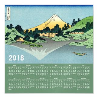 Cartão 2018 magnético do calendário de Hokusai