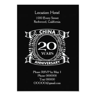 Cartão 20a porcelana do aniversário de casamento