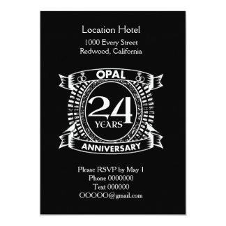 Cartão 24o opal do aniversário de casamento