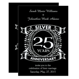 Cartão 25a crista da prata do aniversário de casamento