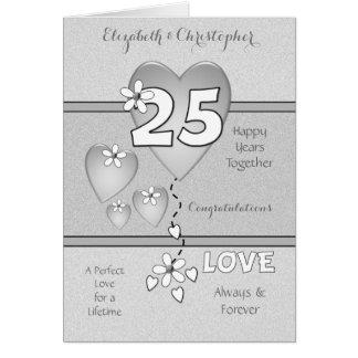 Cartão 25o aniversário de casamento de prata