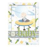 Cartão 2 do bebê do espaço convite personalizado