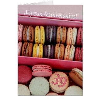 Cartão 39th Aniversário francês Macaron-Joyeux
